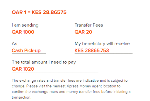 send money to kenya from qatar using xpress money