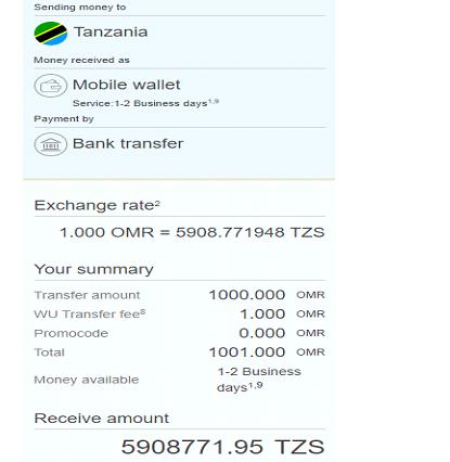 western union money transfer to tanzania from oman