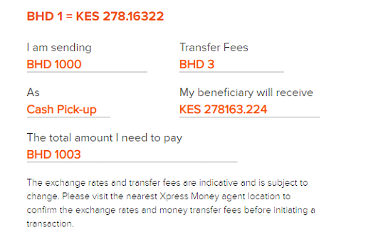cheap money transfer to kenya from bahrain