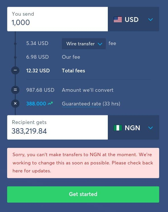 transferwise money transfer nigeria