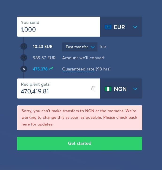 transferwise stops money transfer to Nigeria